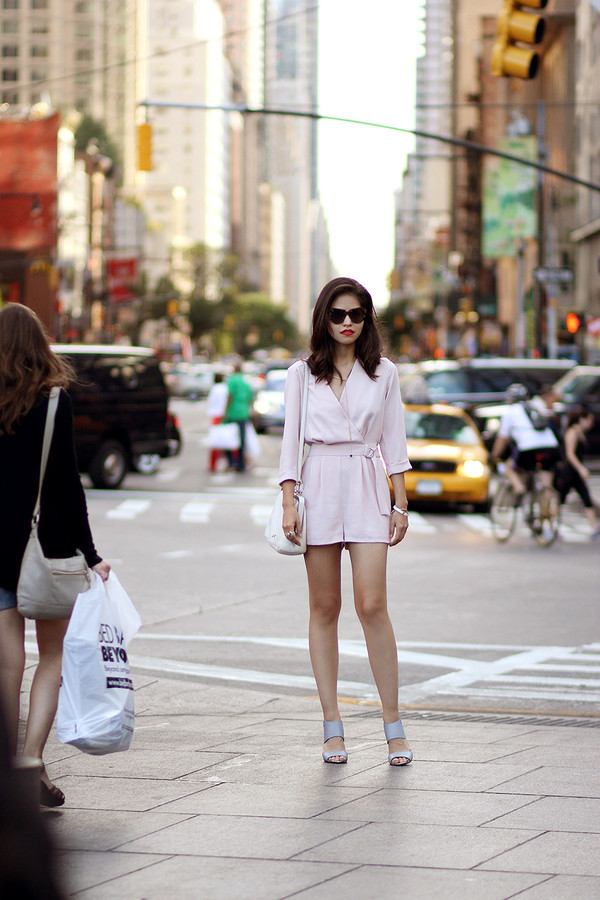 fake leather blogger romper shoes jewels bag sunglasses make-up