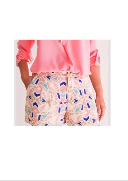 shorts blouse cute spring summer blue pink white brown pattern patterned outfits