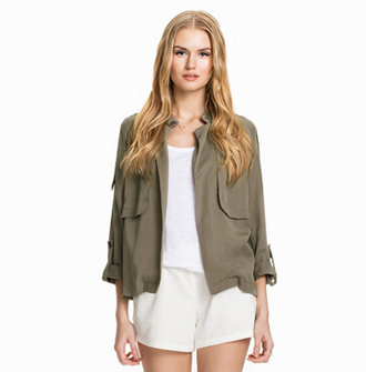 jacket women jacket spring jacket spring coat shirt blouse camouflage top army green jacket packets