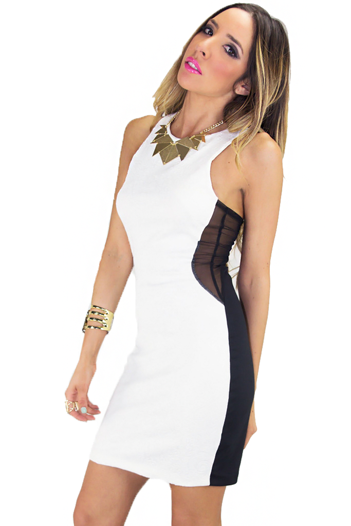 EMBOSSED BODYCON CONTRAST MESH DRESS | Haute & Rebellious