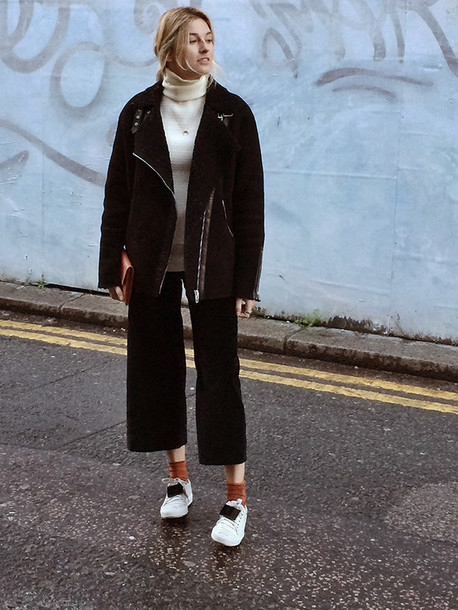 camille over the rainbow blogger cropped pants black jacket socks white sneakers cropped wide-leg velvet pants black wide-leg velvet pants