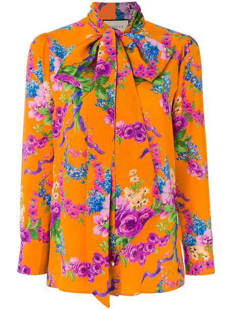 blouse printed blouse women floral silk yellow orange top