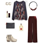 chicatanyage,blogger,jewels,top,pants,shoes,bag,fall outfits,ankle boots,red pants,clutch