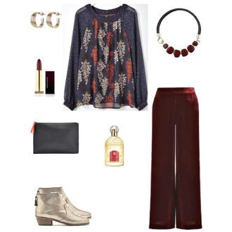 chicatanyage blogger jewels top pants shoes bag fall outfits ankle boots red pants clutch