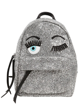 mini glitter eyes backpack silver bag