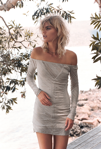 dress bodycon dress off the shoulder long sleeves
