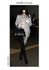 sweater,celebstyle for less,kendall jenner,striped sweater,grey,scarf,black jeans,black boots,sunglasses,leather bag,model,pants,fuzzy sweater,fluffy,round sunglasses,shoes,bag