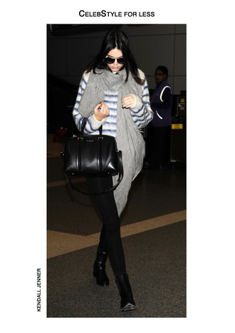 sweater celebstyle for less kendall jenner striped sweater grey scarf black jeans black boots sunglasses leather bag model pants fuzzy sweater fluffy round sunglasses shoes bag