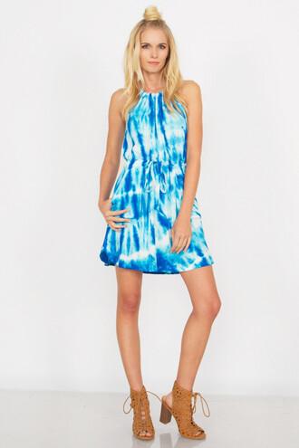 dress crush dress halter neck neckline front pockets sugar lips blue cute trendy fashion tie dye bikiniluxe-feb