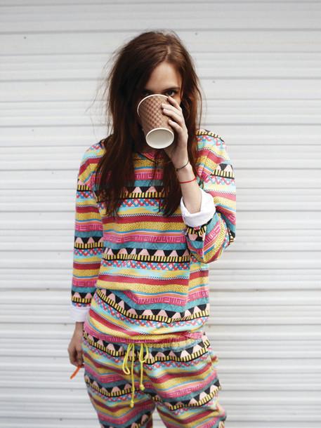 suit colorful dress pants aztec colorful combinaison romper cool rainbow pajamas pajamas colorful white rainbows shirt top jumpsuit hipster onesie