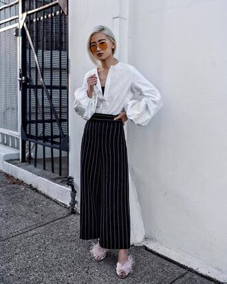 shoes tumblr high heels heels pink shoes mules pants wide-leg pants stripes striped pants shirt white shirt sunglasses blouse