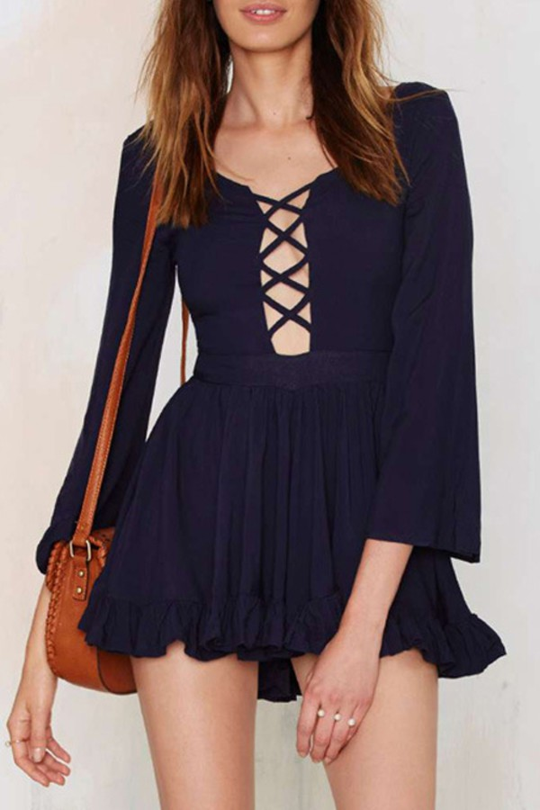 dress lace up plunge dress ruffle fall dress top clothes outfit zaful fashion streetstyle sexy dress cute dress strappy