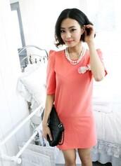dress,mixmoss.com,pink,short sleeve,bows