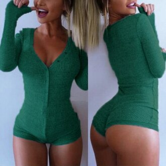 green cool sexy warm cozy bodysuit girly stylish long sleeves booty clothes pajamas jumpsuit top fashion style red fall outfits trendy winter outfits romper zaful