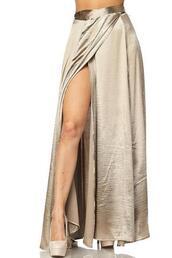 skirt,satin,maxi skirt,thigh high slit,wrap skirt,high waisted