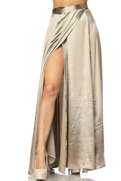 skirt satin maxi skirt thigh high slit wrap skirt high waisted