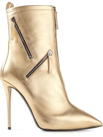 zip boots metallic shoes