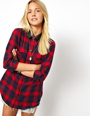 ASOS | ASOS Shirt in Brushed Check with PU Collar at ASOS
