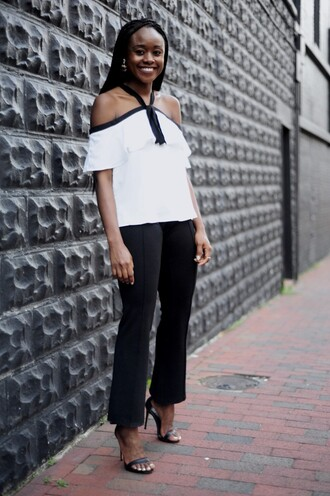 skinny hipster blogger top pants shoes jewels off the shoulder off the shoulder top white top flare pants kick flare kick flare pants black pants sandals sandal heels high heel sandals black sandals