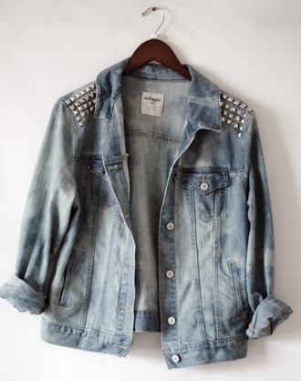 jacket jeans denim jacket blue white silver light blue studs denim studded jacket vintage punk coat pins