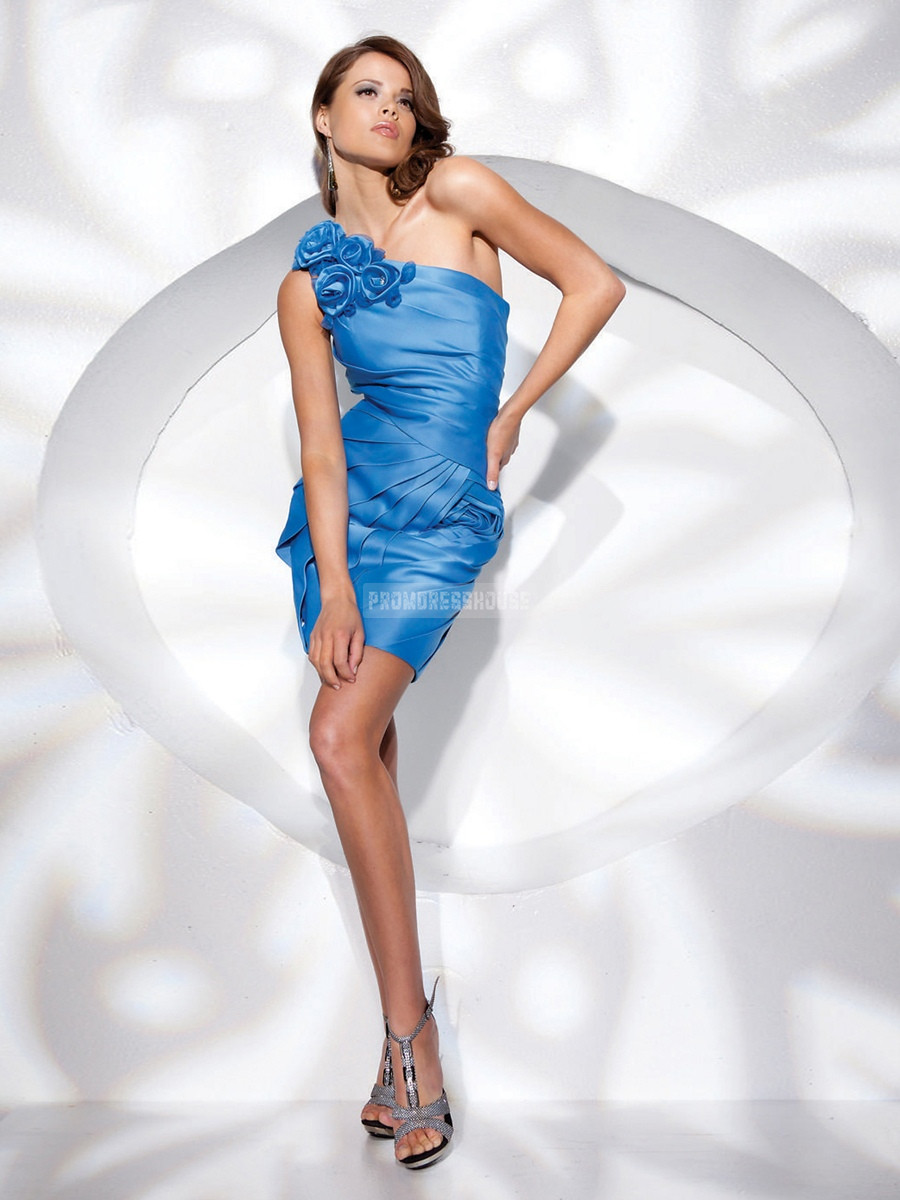 Short Length Flowers Blue Satin One Shoulder Column Prom Dress - Promdresshouse.com