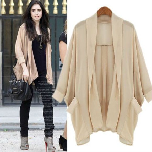 lily collins jacket cardigan beige the blind side mirror mirror oversized cardigan long cardigan flyaway cardigan neutral celebrity style steal celebrity celebrity style celebrities hollywood
