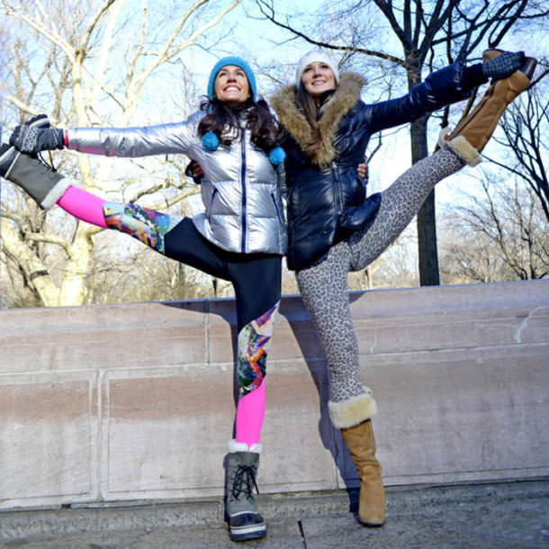 nycpretty blogger leggings sportswear down jacket winter sports metallic silver winter boots bff