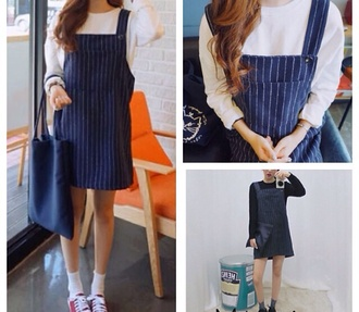 stripes blue dress cute front pockets navy casual dress dress