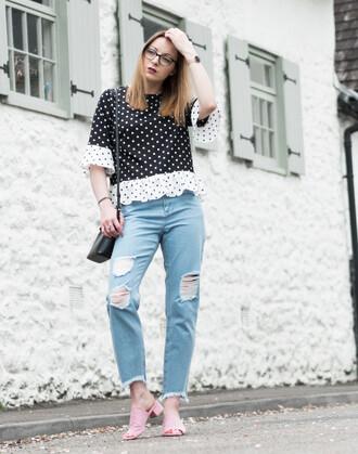 t-shirt polka dots tee boyfriend jeans distressed denim mules blogger blogger style crossbody bag