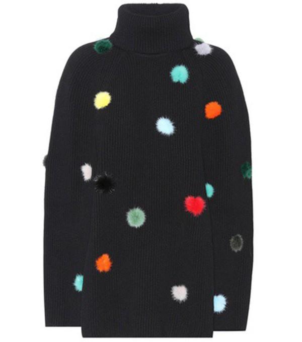 Fendi Fur-trimmed cashmere sweater in black