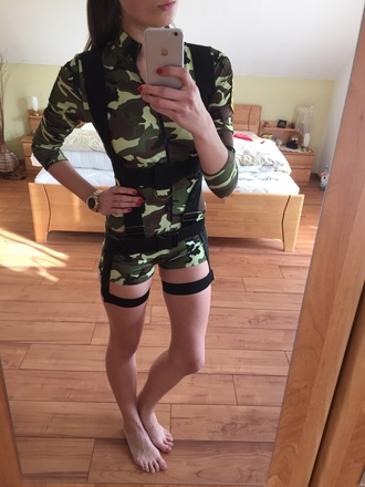 jumpsuit pattern sexy army green
