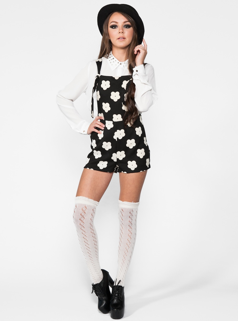 Black Shorts - Black and White Daisy Overalls | UsTrendy