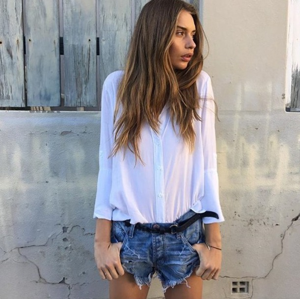 45b9a9a475 blouse bella dahm blue and cream button up white top summer outfits casual beach  white button