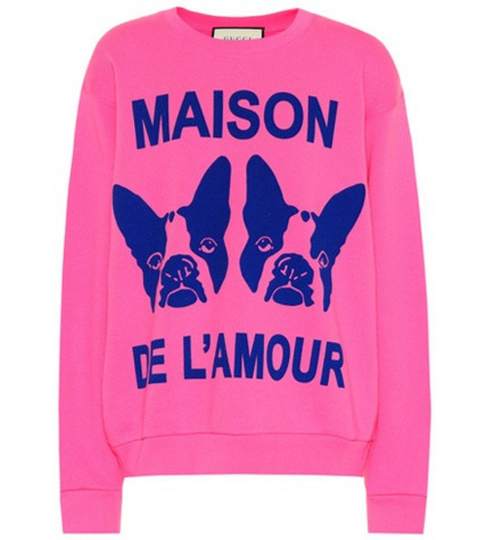 Gucci Guccy embellished cotton sweatshirt in pink