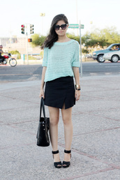 fake leather,sweater,skirt,shoes,bag,sunglasses,jewels