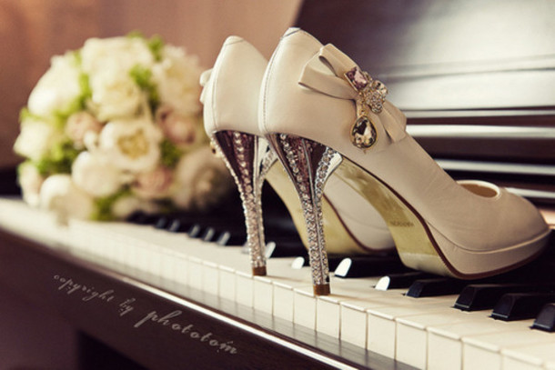 nude bow high heels shoes