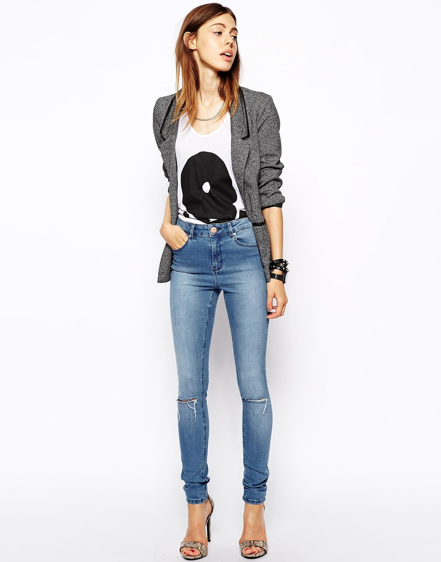 ASOS Ridely High Waist Ultra Skinny Jeans in Heritage Blue with Ripped Knees at asos.com
