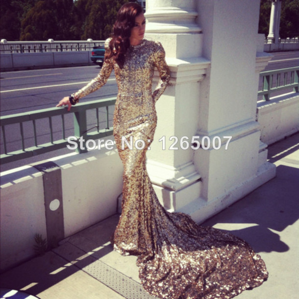 Aliexpress.com : Buy 2014 Round Neck Long Sleeves Sequins Shiny Golden Big Train Sexy Mermaid EveningDresses New Fashion from Reliable sleeve arm suppliers on SFBridal