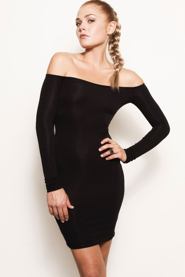 bodycon dress off the shoulder little black dress