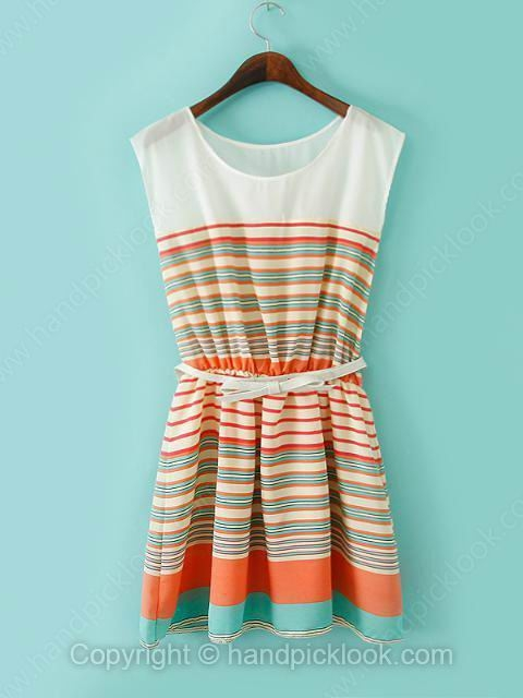 Orange Round Neck Sleeveless Belt Chiffon Dress - HandpickLook.com