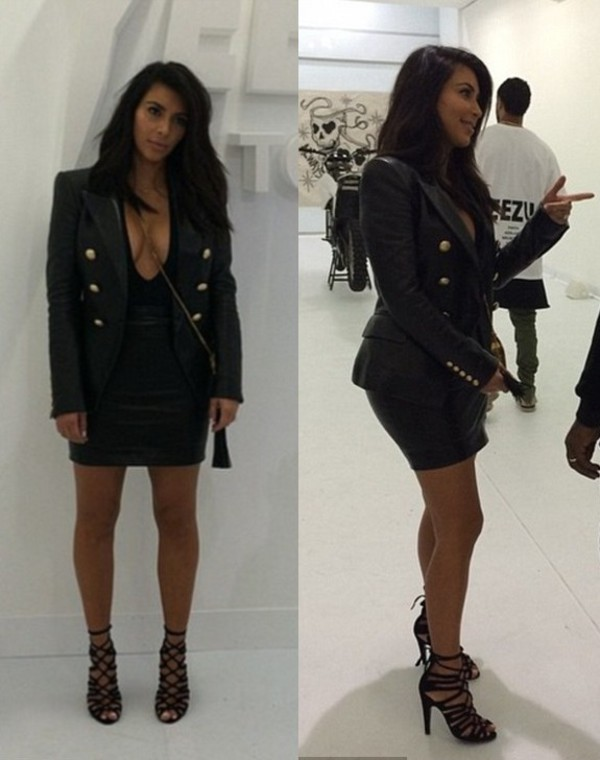 jacket leather jacket leather skirt kim kardashian shoes top