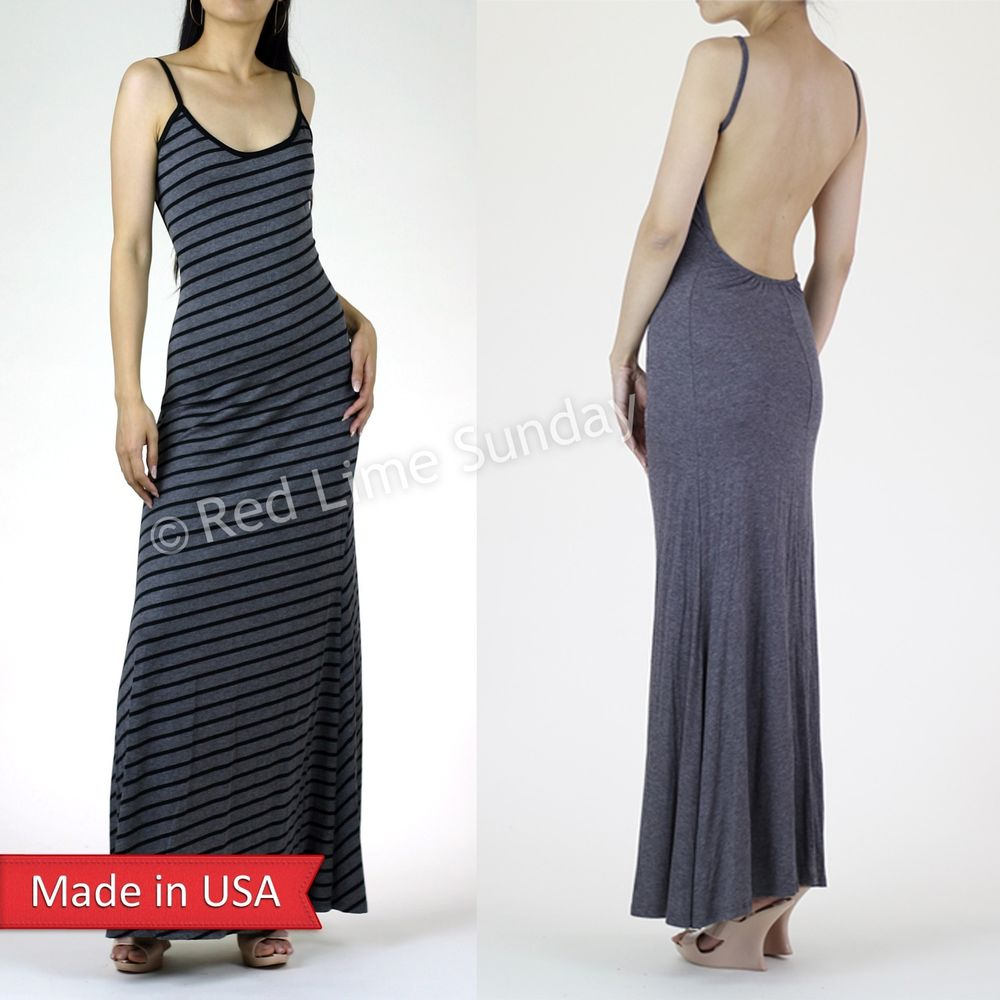 Gray Minimalist Backless Slip Open Back Stripe Color Full Length Long Maxi Dress