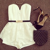 dress,nightime,white,black,shoes,belt,romper,pretty,shorts,the playsuit and the lace over the shorts an amazing outfit,shirt,jumpsuit,mini dress,bag,jewels,little white dress,blouse,brandy melville,short,crop tops