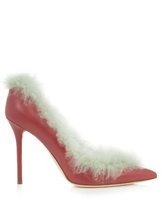 fur pumps leather dark pink shoes