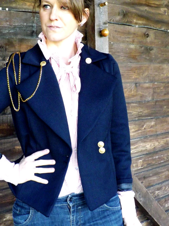 Dark navy blue jacket blue navy tailored jacket by jolydagmara