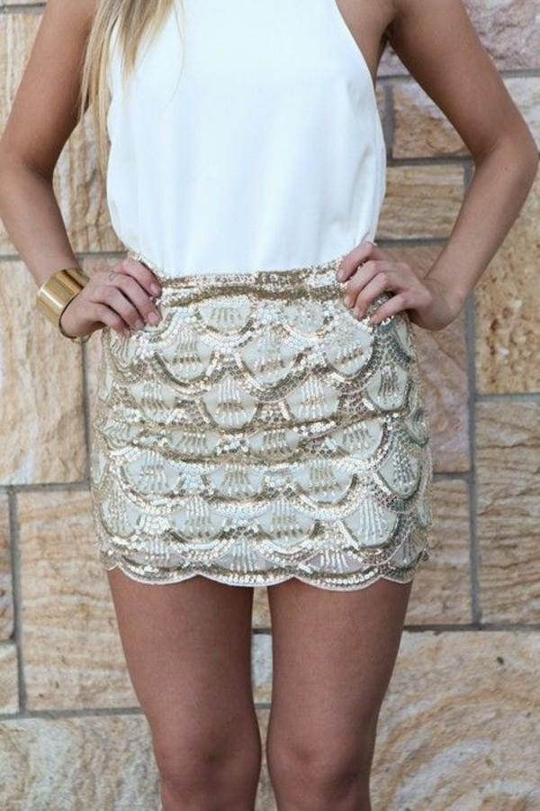 skirt sequin skirt gold sequins gold skirt scallop skirt ici fashion