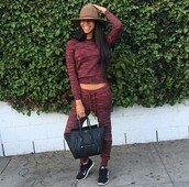 jumpsuit,sweat,sweatshirt,girl,shoes,nike shoes,black nike shoes,celine bag,black celibe back,sweatpants,sweater,hat,brown hat,nikes,sneakers,black bag,black,bag,purse,pants,shirt,top,colorful,cute,girly,maroon outfit,outfit,clothes,pretty,style,cute outfits,two-piece,nike running shoes,nike air,nike sneakers,crewneck,long sleeves,burgundy,drawstring pants,streetwear,fashion,burgundy sweater,black girls killin it,joggers,t-shirt,tracksuit