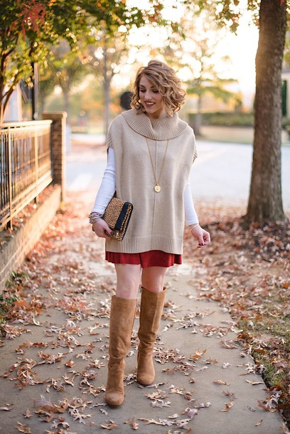 something delightful blogger t-shirt skirt shoes bag jewels knee high boots fall outfits clutch brown boots