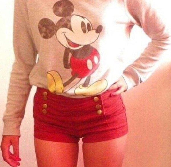 shorts red short sweater