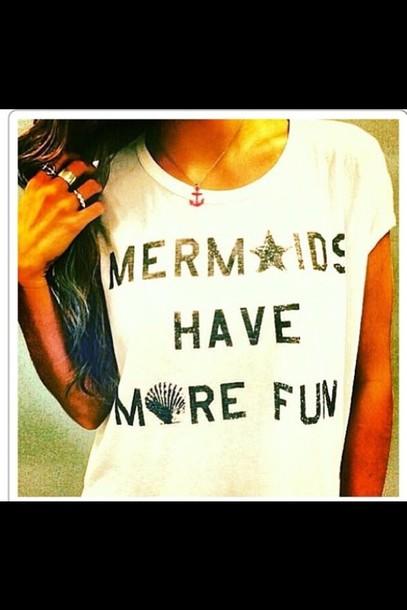 shirt t-shirt beach mermaid starfish shell anchor anchor necklace nautical mermaid t-shirt . white tank top mermaids have more fun mermaid